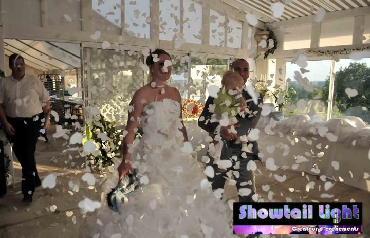 Arrivée des mariés dans salle de réception de mariage