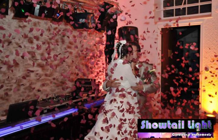Entrée des mariés dans la salle avec confettis