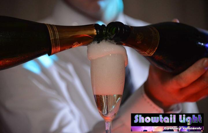 Prise de vue photographe lors de la fontaine de champagne